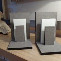 Serre-livres EQUILIBRE / trie-courrier, en compact Lin clair & Corian blanc