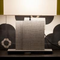 Lampe NAHUA raffia gris, A/J rect.  35 cm blanc cassé