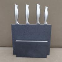 Porte-couteaux EQUILIBRE 10, pierre noire & Corian blanc