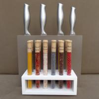 Combiné Porte-couteaux & Orgue à épices, Corian taupe & blanc