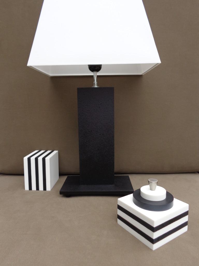 Ensemble CITY pierre noire & blocs Kubô Cake blanc & noir