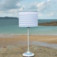 Lampe ROND'Ô, pied en corian bicolore & abat-jour marinière assorti